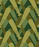 Baseball bat military pattern seamless. Sports stick Khaki sol. Diery texture. Green Camouflage army background . protective ornament vector illustration stock illustration