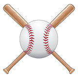 Baseball With Bats. Illustration of a baseball or softball with two crossed wooden bats. Great for t-shirt designs Royalty Free Stock Photography