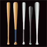 Baseball bats. Illustration of five different baseball bats isolated on black background Royalty Free Stock Image