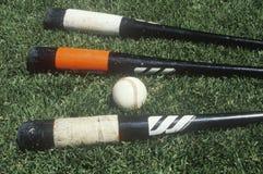 Baseball bats and ball on field Stock Image