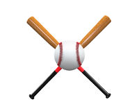 Baseball Bats and Ball. Isolated on white background. 3D render Royalty Free Stock Photos