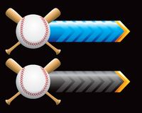 Baseball and bats on blue and black arrows Royalty Free Stock Photography