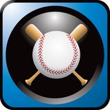Baseball and bats in blue web button Royalty Free Stock Photo