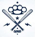 Baseball bats crossed vector criminal gang logo or sign.
