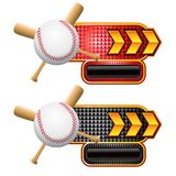 Baseball and bats on gold arrow nameplates. Gold arrow nameplate banners with a baseball and crossed bats Royalty Free Stock Photography