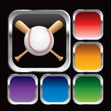 Baseball and bats in multicolored web buttons Royalty Free Stock Photography