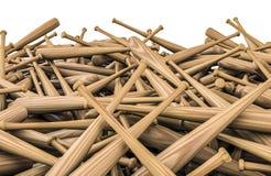Baseball bats pile. 3D render of wooden baseball bats Stock Photo