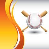 Baseball and bats on vertical orange wave backdrop Royalty Free Stock Photography