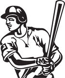 Baseball Batter. Line Art Illustration of a Baseball Batter Royalty Free Stock Photos