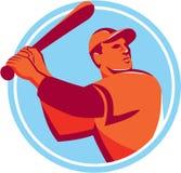 Baseball Batter Batting Bat Circle Retro Stock Photos