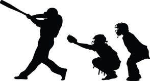 Baseball batter catcher and umpire Stock Photo
