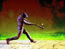 Baseball batter. Grunge image of baseball batter, at the crucial moment stock illustration
