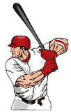 Baseball batter hitting ball Stock Photo