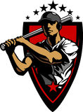 Baseball Batter Hitting with Bat Royalty Free Stock Photos