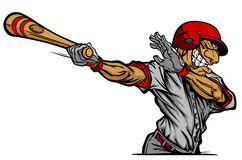 Baseball Batter Hitting Cartoon Vector image Stock Image