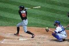 Baseball Batter Hitting. Major League Baseball batter swinging Royalty Free Stock Photography