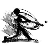 Baseball Batter Hitting Pitch. Sketch Illustration of Baseball Hitter Stock Photos