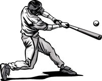 Baseball Batter Hitting Pitch Vector image vector illustration