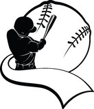 Baseball Batter with Pennant Royalty Free Stock Image