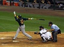 Baseball - batter swinging Stock Photo
