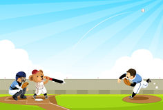 Baseball Bear hits the ball stock illustration