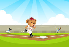 Baseball bear running to base Stock Photo