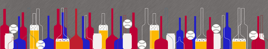 Baseball and beer bottles and glasses Royalty Free Stock Photo