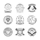 Baseball beschriftet Ikonen eingestellt lizenzfreie abbildung