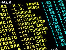 Baseball betting. Sight on the monitor with teletext and betting offer of baseball matchups Stock Images