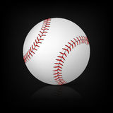 Baseball on black background with reflection. Royalty Free Stock Photography