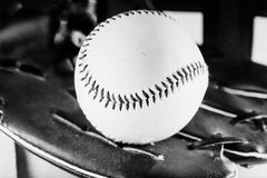 Baseball, black and white Royalty Free Stock Photo
