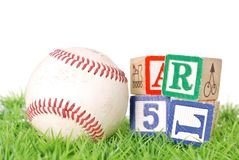 Baseball With Blocks Royalty Free Stock Photo