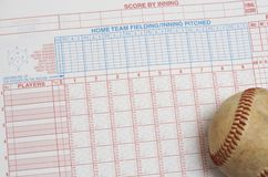Baseball book. A picture of a ball on a scorebook Royalty Free Stock Photos