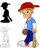 Baseball Boy. Cool happy kid with baseball glove and bat in color, black and white and silhouette Stock Images