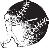 Baseball Boy Batting with Grunge Ball Stock Image