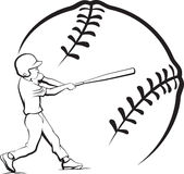 Baseball Boy Batting with Stylized Ball Stock Photo