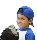 Baseball boy isolated on white. Hispanic baseball boy with blue and white clothes and glove on isolated white background Stock Photography