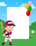 Baseball Boy Photo Frame. Photo frame, invitation card or page for your scrapbook. Subject: a boy playing baseball in a park. Eps file available Royalty Free Stock Photos