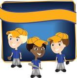Baseball boys. Three baseball player kids in uniform Stock Images