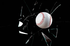 Baseball Breaks Window No blur Royalty Free Stock Photos