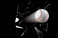 Baseball Breaks Window Royalty Free Stock Images