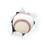 Baseball Bursting Though a Hole Stock Photography