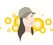 Baseball cap. The girl in baseball cap smiles Stock Photos