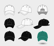 Baseball cap. Back, front and side view. Uniform fashion hat, design sport clothing. Vector illustration Stock Photos