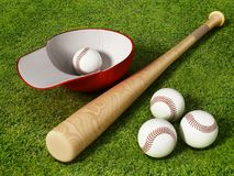 Baseball cap, ball and bat standing on grass field. 3D illustration.  Stock Photography
