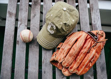 Baseball cap, ball and glove Stock Photos