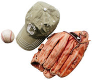 Baseball cap, ball and glove. Isolated on white background