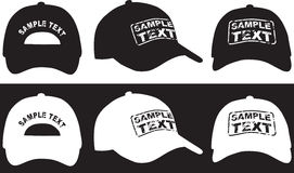 Baseball cap, front, back and side view. Vector Royalty Free Stock Photos