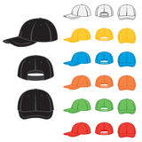 Baseball cap. Graphic baseball cap in a variety of basic colours Stock Photos