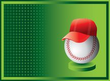 Baseball and cap on green halftone ad Stock Photo